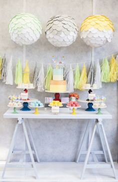painterly/ Pantone inspired dessert table for a children's party Photography by facebook.com/KatCvetPhotography, Styling by http://mylittlejedi.com.au