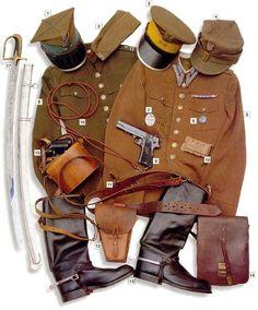 "Polish cavalry officer, 1939 01 - wz.1935 ""rogatywka"" garrison cap 02 - wz.1923 forage cap 03 - round cap of the 3rd Cavalry Regiment 04 - ..."