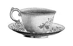victorian tea cup & saucer clip art | ... Tea Cup Digital Stamp: Pretty Tea Cup and Saucer Illustration 1913