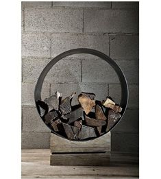 The Rustic Log Holder from Civico Quattro in Italy via remodelista Firewood Holder, Firewood Storage, Storage Baskets, Stacking Firewood, Log Holder, Concrete Color, Fireplace Design, Wood Texture, Metal Art