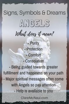 What do those wonderful angels mean when they show up in your life, your dreams or your psychic or mediumship readings? Dream Interpretation Symbols, Dream Psychology, Psychology Facts, Psychic Dreams, Facts About Dreams, Dream Symbols, Angel Guide, Free Tarot Reading, Dream Meanings