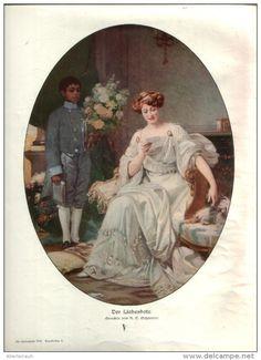"""Der Liebesbote  - Druck, entnommen  aus """"die Gartenlaube"""", 1910"""