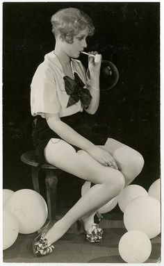 Vintage Antique 1920s Photograph Silent Film Cutie Anita Page Blowing Bubbles Ruth Harriet Louise Hollywood Flapper Balloons