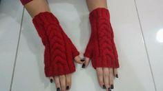 Red / Fingerless Gloves/ Women Gloves/ by AccessoryDesignShop