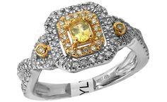 14k White Gold 2.00ctw Yellow Sapphire .50ctw Brilliant Cut #Diamond #Ring $940.00