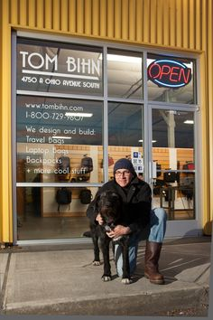 Tom Bihn makes all of his luggage here in the US! Here's a great pic of Tom outside his Seattle shop with his cute dog Riley! #PinUpLive