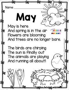 MAY POETRY FREEBIE kindergarten first grade writing activities printables