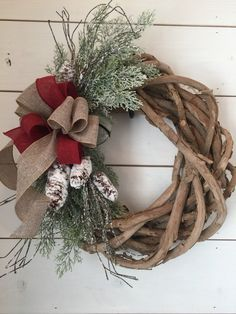 Christmas wreath, pinecone wreath, primitive Christmas wreath, primitive wreath, rustic Christmas wreath, farmhouse decor, thick grapevine by MercantileAtMulberry on Etsy https://www.etsy.com/listing/485861873/christmas-wreath-pinecone-wreath