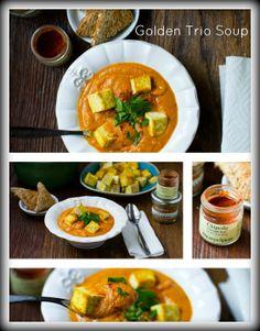 Golden Trio Chipotle Fall Soup with Crispy Tofu. - Healthy. Happy. Life. #vegan