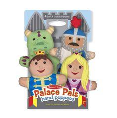 Deze set van 4  poppenkastpoppen van Melissa and Doug is gemaakt voor kinderhanden. Hij bestaat uit een prins, een prinses, een ridder en een draak.