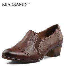 KEAIQIANJIN Woman Career Pumps Genuine Leather Black Brown High Heel Shoes Spring Autumn Oxford Dress Office Pumps 2017 #Black high heels http://www.ku-ki-shop.com/shop/black-high-heels/keaiqianjin-woman-career-pumps-genuine-leather-black-brown-high-heel-shoes-spring-autumn-oxford-dress-office-pumps-2017/
