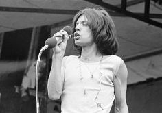"""This Saturday, July 5, 1969 file photo shows Mick Jagger, lead singer of The Rolling Stones, singing during a free, five-hour concert before nearly 250,000 fans in Hyde Park in London, England. Handwritten letters from Rolling Stones frontman Mick Jagger to his former lover Marsha Hunt will be auctioned in London next month. Hunt is an American-born singer who was the inspiration for the Stones' 1971 hit """"Brown Sugar"""" and bore Jagger's first child. Sotheby's says the """"passionate and artic"""