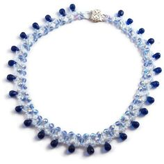 Beadweaving necklace light blue colbalt and opalite by MiSuenos