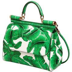 Dolce & Gabbana Women Medium Sicily Garden Print Dauphine Bag ($3,405) ❤ liked on Polyvore featuring bags, handbags, shoulder bags, green handbags, leather purses, floral shoulder bag, green leather purse and embossed leather handbags