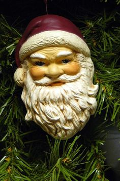 LOVE THIS! Such a classic Santa ornament... simply beautiful. #dteam #SantaClaus #Christmas #ChristmasTree #Holiday #ornament #ceramic