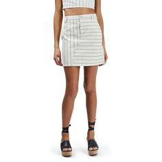 Women's Topshop Stripe A-Line Denim Skirt ($55) ❤ liked on Polyvore featuring skirts, cream multi, white knee length skirt, striped a line skirt, knee length a line skirt, topshop skirts and a line denim skirt