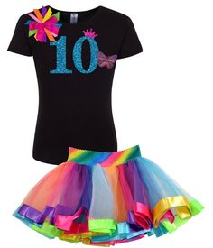 """10th Birthday Rainbow Butterfly Shirt and Rainbow Tutu 10 year old Birthday outfit, with a sparkle princess crown. Ive added fun colorful rainbow ribbons, and a glitter butterfly to top off the design. Enjoy!   Purchase Everything or only the items you select.  Items To Purchase • Butterfly Shirt • Rainbow Tutu • Butterfly Hair Bow • Butterfly Socks • Add A Name  Make It Special: add """"Birthday Girl"""", Princess or a """"Name"""" for only $10.00 more.  **The NAME is not included. If you would like it…"""