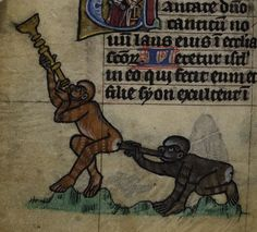 Detail of two monkeys playing trumpets in an unusual manner, from the Maastricht Hours, Liège, 1st quarter of the 14th century, Stowe MS 17, f. 61v - See more at: http://britishlibrary.typepad.co.uk/digitisedmanuscripts/2015/07/happy-uncommon-musical-instrument-appreciation-day.html#sthash.FnKoayeE.dpuf