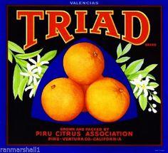 Piru CA, Triad Brand fruit crate label
