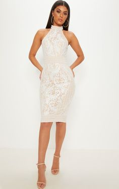 30ac6c5f960 White Lace Crochet High Neck Midi Dress