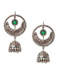 Silver Crecent Bali with a Jhumki