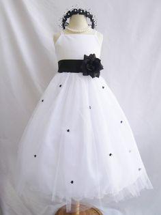 Flower Girl Dress WHITE/Black RB3 Wedding Children Easter Bridesmaid Communion Blue Royal Blue Navy Black Champagne Burgundy Gold