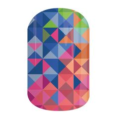 Patchwork | Jamberry Nails This geometric medley features bright pinks, blues, and greens in a classic glossy finish. #PATCHWORKJN