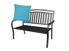"Add an outdoor pillow to soften a sturdy metal seat. Mainstays slat garden bench in black, $69, walmart.com for stores; Knife-Edged 20"" x 20"" outdoor Sunbrella pillow in teal, $50 for a set of 2, overstock.com"