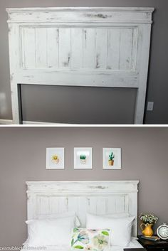DIY. Build this Farmhouse Style Headboard for around $100! It will be the center of your bedroom makeover