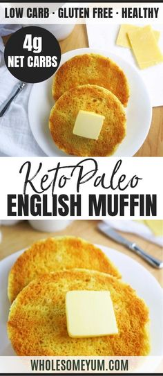 Paleo Gluten-Free Low Carb English Muffin Recipe in a Minute – A paleo low carb English muffin recipe that's soft and buttery inside, crusty on the outside. These gluten-free English muffins are easy to make in 2 minutes, with 5 ingredients! Low Carb English Muffin, Gluten Free English Muffins, English Muffin Recipes, English Muffin Recipe No Yeast, Paleo Muffin Recipes, Low Sugar Recipes, Healthy Low Carb Recipes, Low Carb Dinner Recipes, Diet Recipes