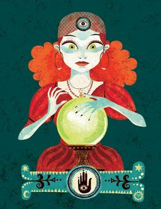 I first found the work of French illustrator Gwen Keraval a few weeks ago while I was wandering around the Djeco website. Graphic Design Illustration, Illustration Art, Le Bateleur, Witchy Wallpaper, Gypsy Fortune Teller, Art Carte, Atc Cards, Fortune Telling, Vintage Circus