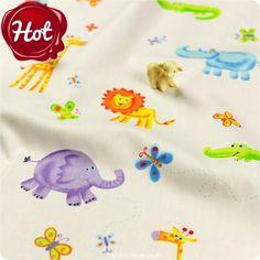 BESTSELLER | Zoo ♥ 50x53cm Off-White Cute Jungle Cotton Fat Quarter Fabric