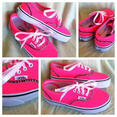 Neon Pink Bling VANS SHOES by Munchkenz on Etsy, $75.00