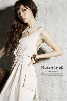 open Back Milk White with bow korean dress