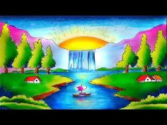 Hello Friends Welcome to Our Channel Friends Our Channel makes videos on different type of Art Media In this Video we show you Oil Pastel Color Media to make. Oil Pastel Colours, Oil Pastel Art, Oil Pastels, Beautiful Scenery Drawing, Scenery Drawing For Kids, Easy Painting For Kids, Beginner Painting, Scenary Paintings, Landscape Paintings