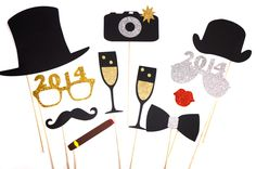 2014 New Years Eve Photo Booth Props  Silver and by TheManicMoose, $32.00