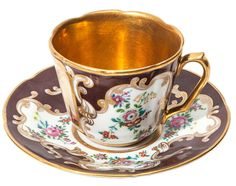 POPOV CUP AND SAUCER WITH IMAGE OF ST. BASILS CATHEDRAL, POPOV PORCELAIN MANUFACTORY, 19TH C.