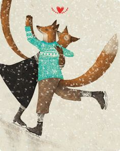Marco Somà foxes skating in winter sweaters