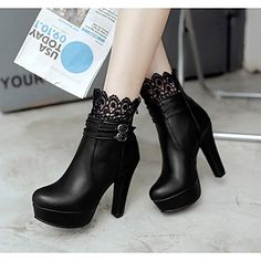 New Women Black Round Toe Chunky Lace Stitching Fashion Ankle Boots Source by boots Buckle Ankle Boots, Black Heel Boots, Black Heels, Heeled Boots, High Heels, Shoes Heels, Lace Shoes, Black Toe, High Boots