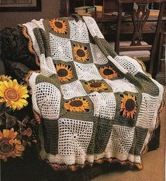 Sunflower Afghan Vintage Crochet Pattern Throw by PatternMania3