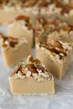 Pecan Pie Fudge | crazyforcrust.com Fudge Recipes, Candy Recipes, Holiday Recipes, Dessert Recipes, Christmas Recipes, Pecan Pie Fudge Recipe, Picnic Recipes, Homemade Christmas, Fall Recipes