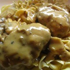 Scrumptious Salisbury Steak in Mushroom Gravy Allrecipes.com