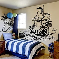 Unique Wandtattoo Piratenschiff Pirat Schatztruhe Insel Schatzinsel Piraten Kinderzimmerdeko M http Piraten KinderzimmerSchatzinselPiratenschiff