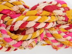 from Materual Recovery shop on Etsy -- SariRope 10 Yds - Yellow Pink Red - Multicolored Recycled Sari Rope