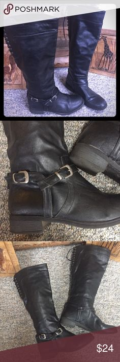 """XOXO  Black Riding Boot XOXO  Faux Leather Black Riding Boot   SIZE 7.5 pull on  functional lace up on the  back of the calf  17"""" calf  all manmade materials  These boots are 15"""" tall  rubber sole  round toe   good condition  All items are from smoke free environment unless specified XOXO Shoes Combat & Moto Boots"""