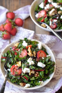 Strawberry, Swiss Chard and Wild Rice Salad | coffeeandquinoa.com