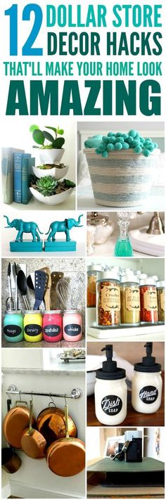 Dollar Store Organization Ideas and Hacks - These 12 Dollar Store Decor Hacks are THE BEST! I'm so glad I found these AMAZING home decor ideas and tips! Now I have great ways to decorate my home a a budget and decorate on a dime! Definitely pinning!
