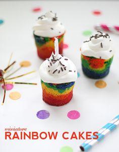 Mini Mason Jar Rainbow cupcakes