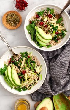 Buckwheat, Apple, Cranberry Avocado Salad is the BEST make-ahead lunch or weeknight dinner! Tossed with a bright lemon vinaigrette, it's filled with fall flavor and healthy, simple ingredients. Absolutely delicious! | Love and Lemons #vegan #glutenfree #salad #thanksgiving Cobb Salad, Pasta Salad, Spaghetti Salad, Couscous Salad, Lentil Salad, Healthy Salad Recipes, Avocado Salad Recipes, Whole Food Recipes, Vegetarian Recipes