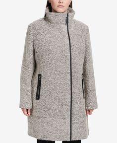 The Must Have Plus Size Winter Coats You Want To Rock Now!   Calvin Klein Plus Size Faux-Leather-Trim Asymmetrical Walker Coat